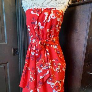 Express floral print, strapless dress